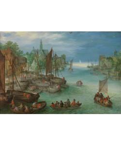 Jan Brueghel der Ältere, Ansicht einer Stadt an einem Fluss