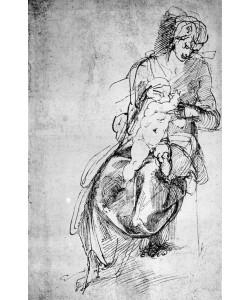 Michelangelo Buonarroti, Studie zu einer Maria mit Kind (Maria lactans?)