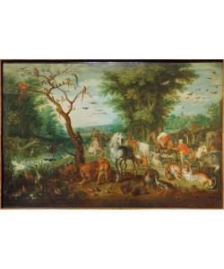 Jan Brueghel der Ältere, Paradieslandschaft mit Arche Noah