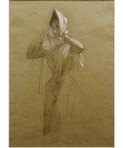 Gustav Klimt, Stehende junge Frau, ein Kopftuch umlegend