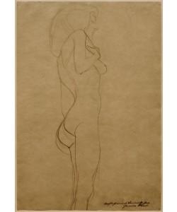 Gustav Klimt, Stehender Frauenakt nach rechts (Studie)