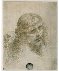Leonardo da Vinci, Kopf Christi mit einer an den Haaren ziehenden Hand