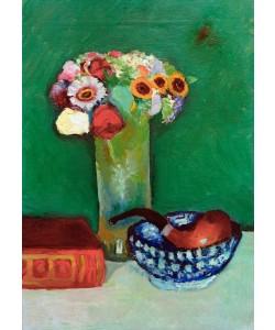 August Macke, Stilleben mit Blumenstrauß und Pfeife in blauer Schale