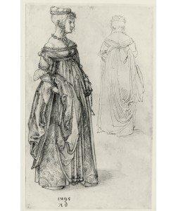 Albrecht Dürer, Frau in venezianischem Kostüm, daneben dasselbe Kostüm von rückwärts