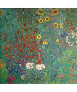 Digitaldruck, Gustav Klimt, Bauerngarten mit Sonnenblumen
