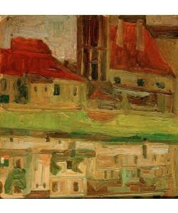 Egon Schiele, Jodokuskirche, sich im Fluß spiegelnd (Krumau)