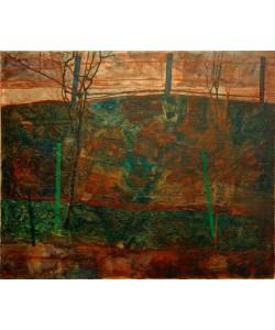 Egon Schiele, Landschaft mit rotem Himmel