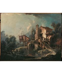 Francois Boucher, Landschaft mit Mühle