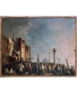 Giovanni Antonio Canaletto, Marionettentheater auf der Piazzetta in Venedig