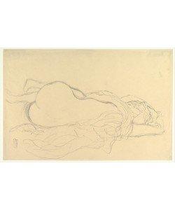 Gustav Klimt, Reclining Nude with Drapery, Back View