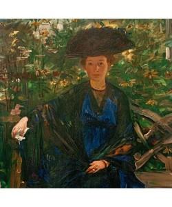 Lovis Corinth, Else Kaumann auf der Gartenbank