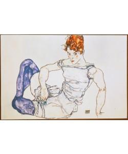 Egon Schiele, Sitzende Frau mit violetten Strümpfen