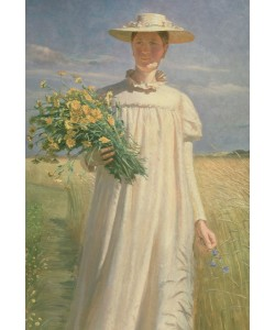 Michael Peter Ancher, Anna Ancher returning from Flower Picking, 1902