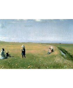 Michael Peter Ancher, Children and Young Girls picking Flowers in a meadow north of Skagen
