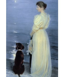 Peder Severin Kroyer, Summer Evening at Skagen, the Artist's Wife with a Dog on the Beach, 1892
