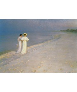 Peder Severin Kroyer, Summer Evening on the Skagen Southern Beach with Anna Ancher and Marie Kroyer, 1893 (oil on canvas)