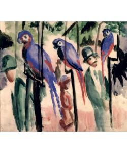August Macke, Blue Parrots (w/c on paper)