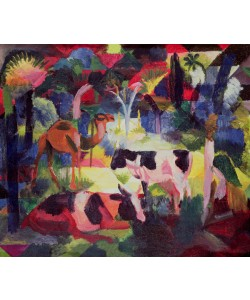 August Macke, Landscape with Cows and a Camel (oil on canvas)