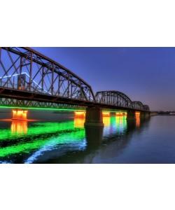 Hady Khandani, HDR - ILLUMINATED SINO-KOREAN FRIENDSHIP BRIDGE OVER YALU RIVER BETWEEN CHINA AND NORTH KOREA - DANDONG 06
