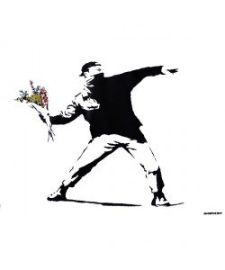 Banksy, Graffiti Throwing Flowers