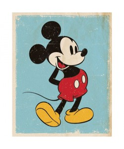 Walt Disney, Mickey Mouse, Retro Blue