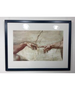 Gerahmtes Bild Holz blau, Michelangelo, Erschaffung des Adam
