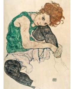 Leinwandbild Egon Schiele - Sitzende Frau