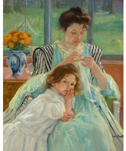 Mary Cassatt, Junge Mutter beim Nähen