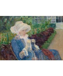 Mary Cassatt, Lydia häkelt im Garten bei Marly