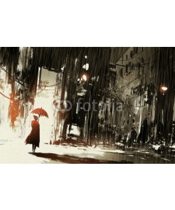 grandfailure, lonely woman with umbrella in abandoned city,digital painting