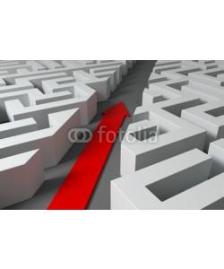 fotomek, 3d Pfeil im Labyrinth - Ohne Umege Ziele erreichen