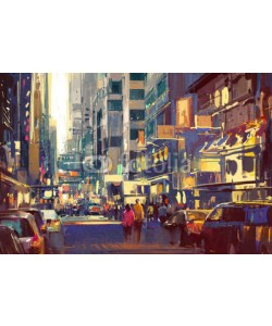 grandfailure, colorful painting of people walking on city street,cityscape illustration