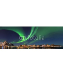 Blickfang, Nordlicht in  Norwegen Svolvaer Panorama