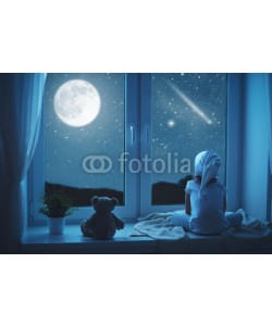 JenkoAtaman, child little girl at window dreaming and admiring starry sky at