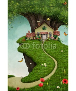 annamei, Fantasy card or illustration of  nice house on  large rock near the tree