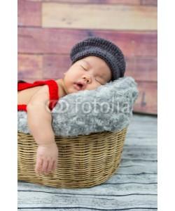 converse677, 6 week old newborn boy sleeping in a basket