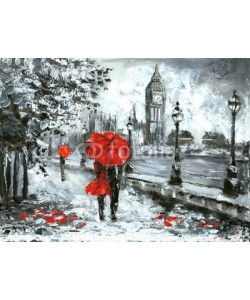 lisima, oil painting, street view of london. Artwork, Black, white and red, big ben