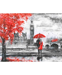 lisima, .oil painting on canvas, street view of london, river and bus on bridge. Artwork. Big ben. man and woman under a red umbrella