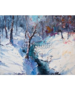 shvets_tetiana, Art Oil Painting Winter Landscape. The Awakening of Nature. Spring is coming.