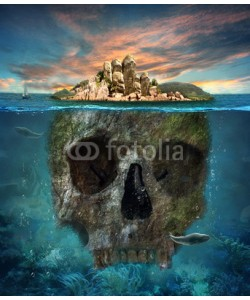 cranach, Island. Underwater scull. Concept graphic in soft oil painting s