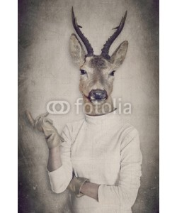 cranach, Deer in clothes. Concept graphic in vintage style.