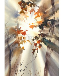 Egle, sun rays in the forest watercolor