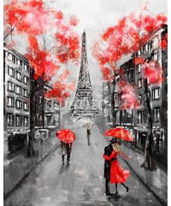 lisima, Oil Painting, Paris. european city landscape. France, Wallpaper, eiffel tower. Black, white and red, Modern art. Couple under an umbrella on street