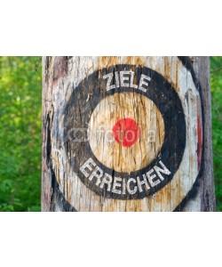 DOC RABE Media, Ziele erreichen - Zielsetzung und Zielerreichung - Zielscheibe auf Baum im Wald