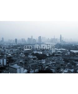 Sakrapee Nopparat, Business buildings at Bangkok city with skyline at sunrise, Monochrome style, Thailand.