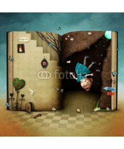 annamei, Conceptual illustration with  magical book Wonderland and the falling girl