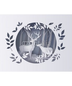 kengmerry, Deer in forest with snow.