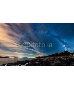 hajdar, Beautiful landscape of Croatia, Croatia coast, sea and mountains. Milky Way panorama