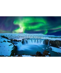tawatchai1990, Northern Light, Aurora borealis at Godafoss waterfall in winter Iceland.