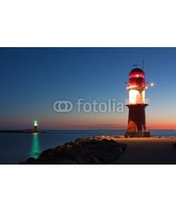 Thorsten Schier, Leuchttürme bei Nacht an der Ostsee, Hafeneinfahrt Warnemünde